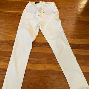 White maternity jeans.